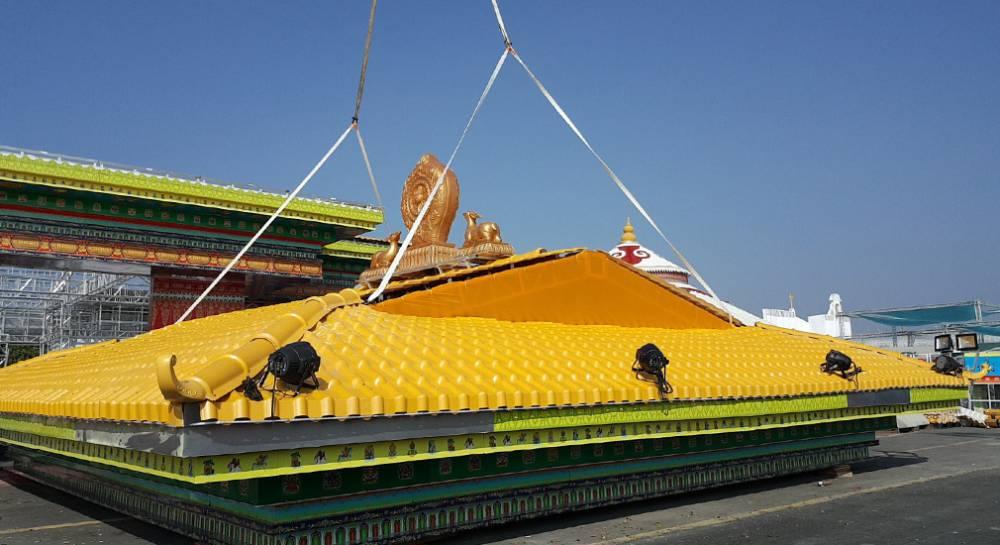 广西南宁市政平改坡工程,围墙装饰防腐材料合成树脂瓦