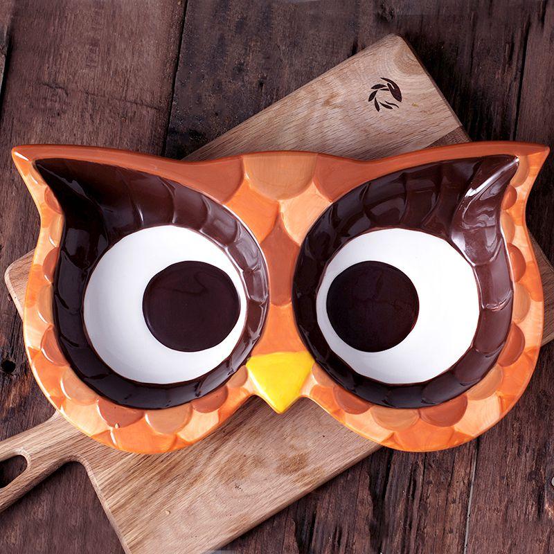 猫头鹰系列手绘陶瓷创意两格盘 彩绘礼盒包装 厂家直销批发