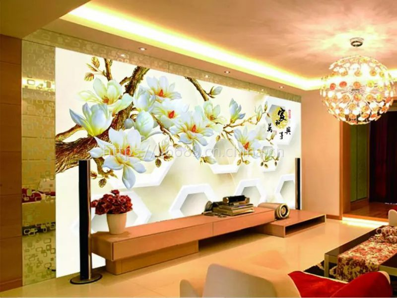 现代简约背景墙大型壁画 温馨卧室3d8d雕浮玉兰花中式客厅电视墙纸壁纸