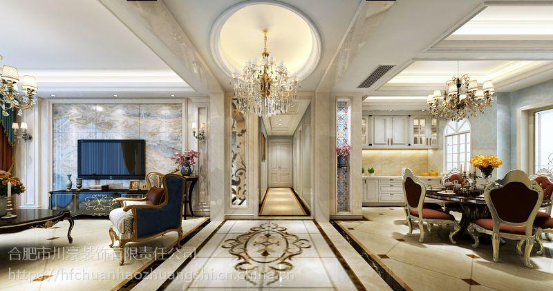 合肥乔治庄园180平欧式风格装修效果图半包8.7万