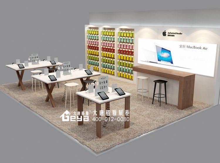 苹果专卖店店铺装修-木质展柜-烤漆展柜-灯箱