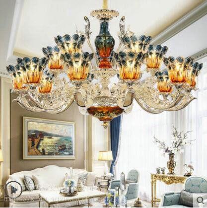 安东尼娅铜吊灯 酒店欧式吊灯 额尔古纳市客厅灯具安装