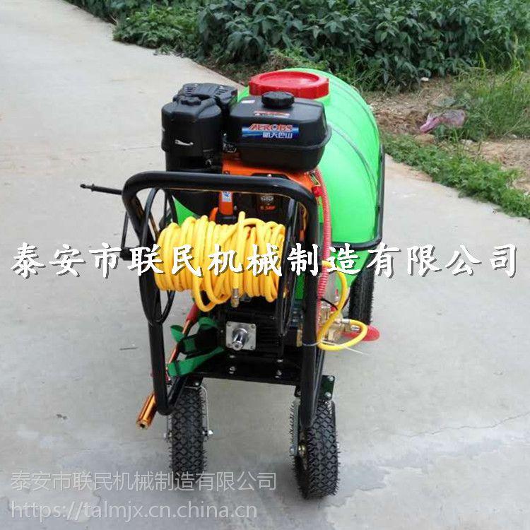 手推式麦田拉管打药机 泰安联民供应 400升园林杀虫喷药机 活动促销中