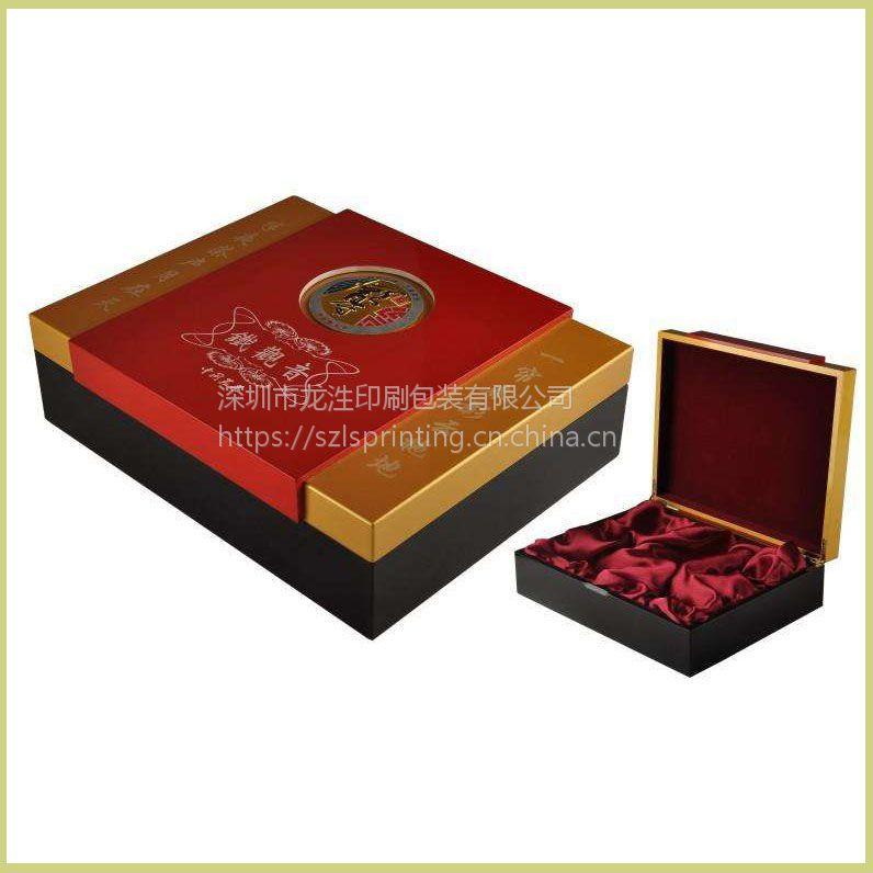深圳黑色天地盒精美礼盒 盖中盖精品盒高档植绒精装礼品盒厂家定制