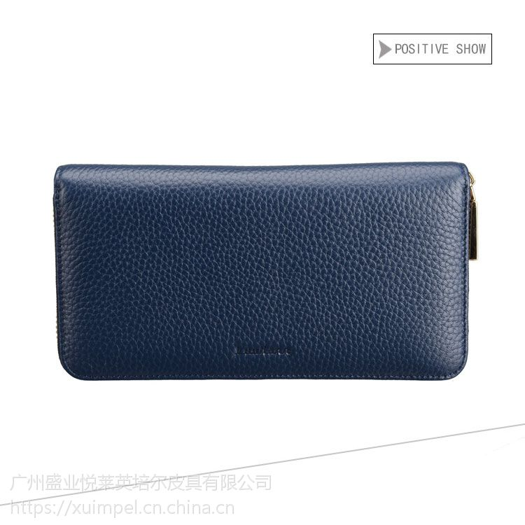 广州英培尔皮具承接拉链包定单日范真皮手包定制拉链暗格多卡位手机包