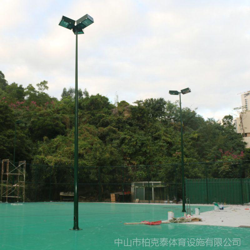江门足球场一拖二400W灯杆 球场跑道照明灯杆定做 柏克灯具有卖