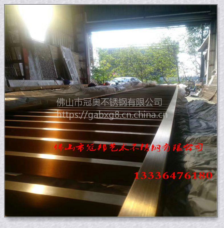 杭州酒店走道金属格栅 不锈钢镀铜屏风厂家定做 中式风格玫瑰金
