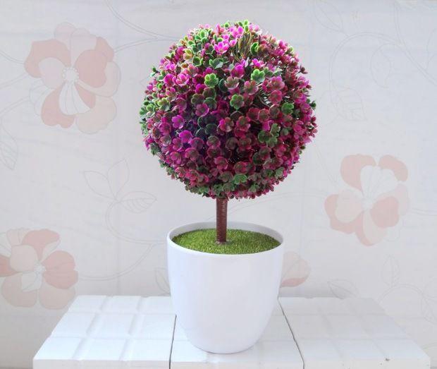 zakka小树草球盆栽 仿真绿植假花塑料 办公室客厅摆放装饰批发图片