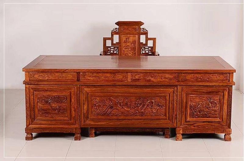 东阳红木家具定做刺猬紫檀3.2米豪华大班台款式大全
