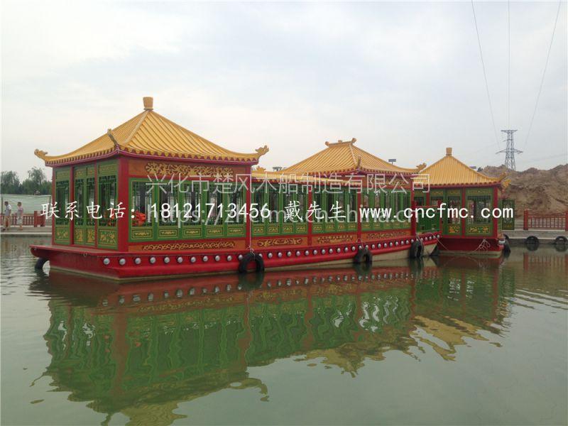 【楚风木船】出售景德镇14米画舫船 餐饮观光船 水上游玩船 农家乐仿古船
