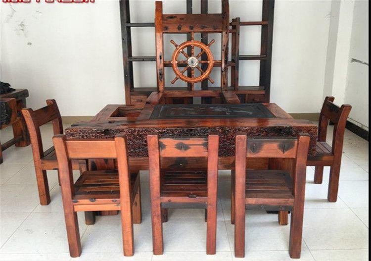 供应老船木茶几 简约实木大板茶桌椅 组合仿古老船木茶台