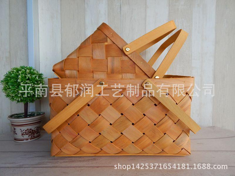 厂家出口*篮子原木提篮收纳篮*木木片*手编织包包串珠图片