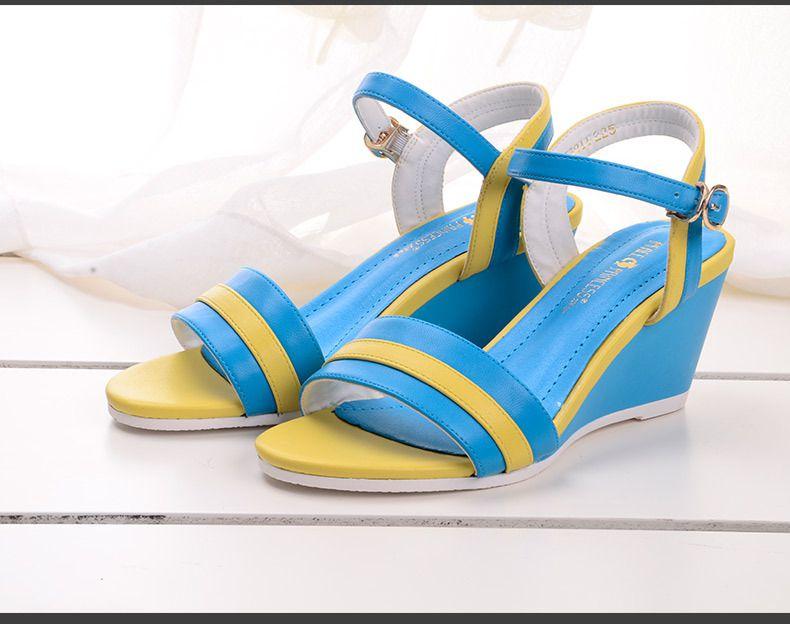2015春夏新款时尚欧美女鞋坡跟中跟鱼嘴三一油缸图片