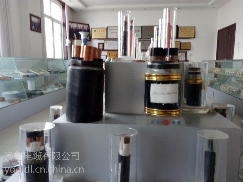 供应齐鲁牌裸铜线多芯交联塑料绝缘聚氯乙炔PVC护套矿用光纤 YJV 3*6