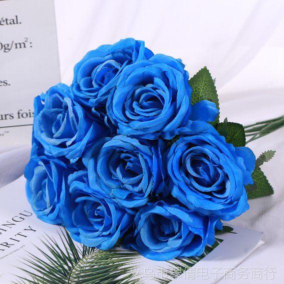 9头玫瑰仿真玫瑰假花束卉花墙壁绢花艺装饰餐桌批发特价婚庆手把