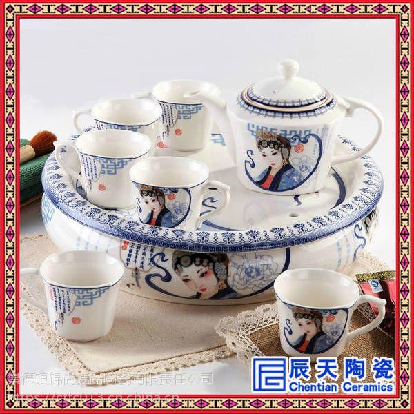 景德镇陶瓷功夫茶具套装家用高档中式青花瓷盖碗茶壶套装
