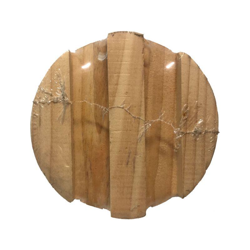 带有木托盘的圆柱立体纸砖