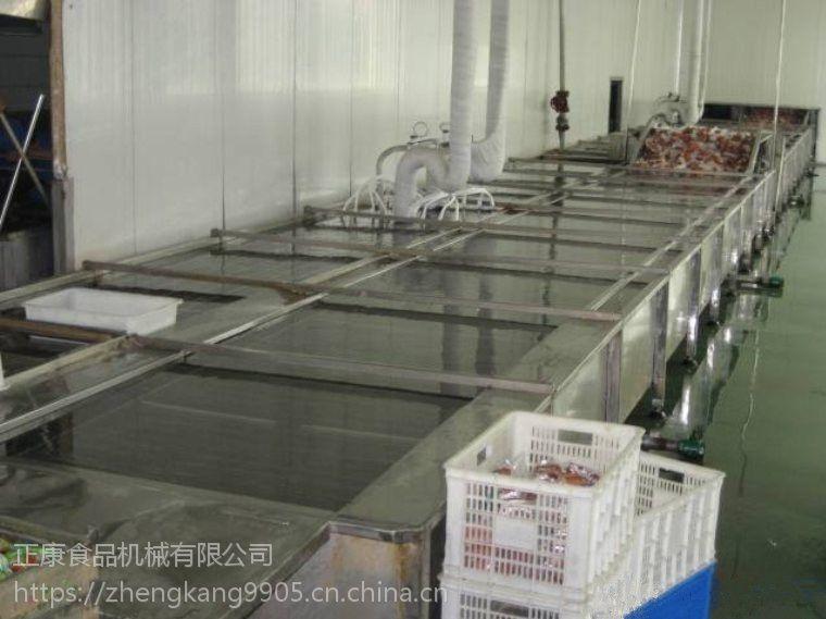 诸城正康食品机械直供不锈钢猪蹄鱿鱼海产品解冻蒸煮流水线肉制品加工生产线
