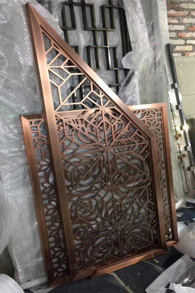 武汉古铜色电镀玄关金属雕花镂空隔断