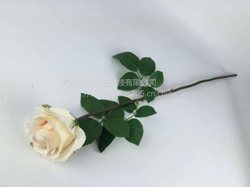 仿真玫瑰花 手感玫瑰花 假玫瑰花 单支玫瑰花 永生花