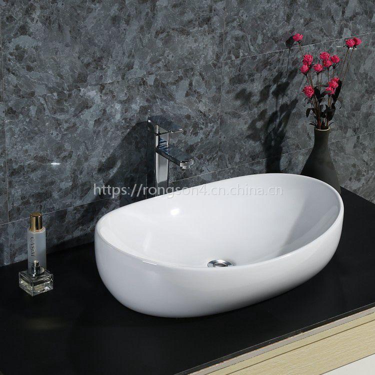 超薄边台面陶瓷无孔长方形新款大尺寸洗手洗脸盆