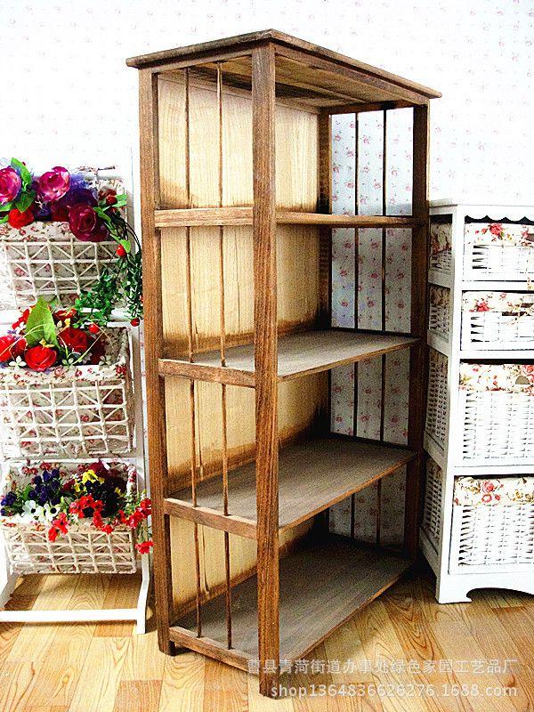 鞋架展示创意棕色实木制质收纳一体式简易四层批发置物书展示架