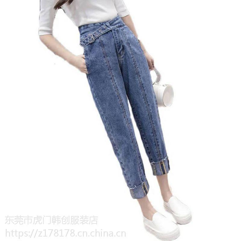 广州清仓牛仔裤女装长裤低价5元尾货韩版牛仔裤批发低价清仓处理