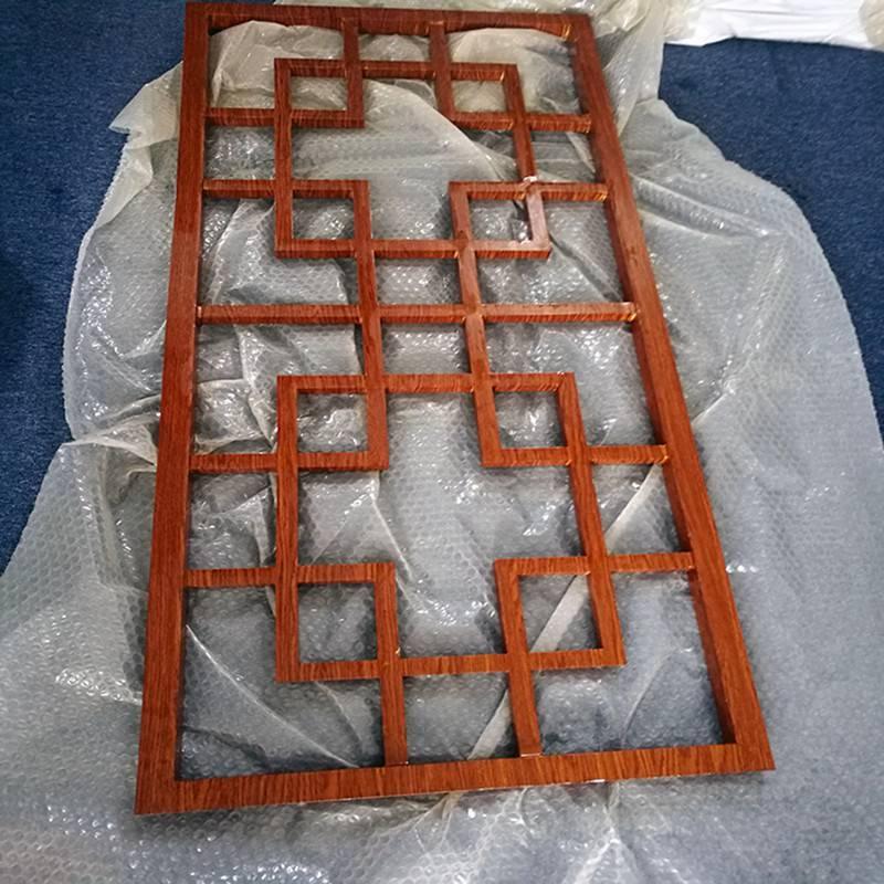 湖州市阳台护栏花窗 度假村木纹铝窗花