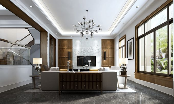 别墅现代轻奢风格设计|万科江上明月装修|天古公司报价