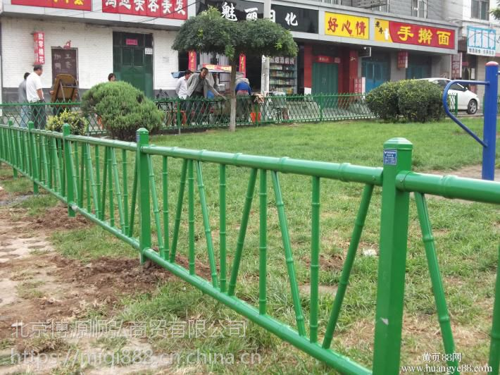 郑州仿竹篱笆围栏,201郑州景观仿竹围栏,HC锌钢围墙栏杆,桃花柱网片护栏,京式道路隔离栏