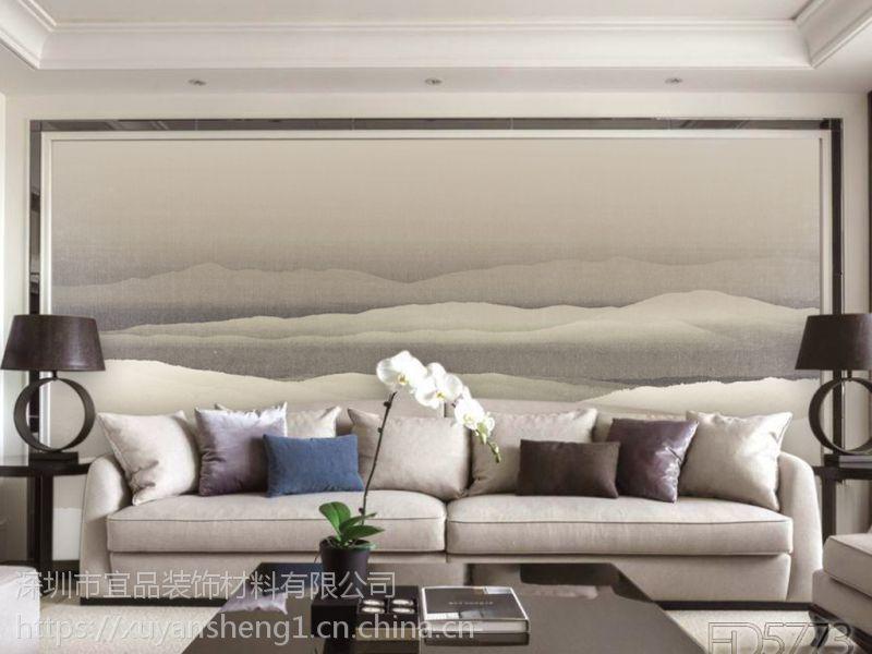 新中式3d立体复古木纹电视沙发背景墙壁画 无缝墙布定制批发 一件代发图片