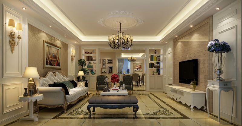 合肥玉兰公寓220平欧式风格客厅装修效果图图片
