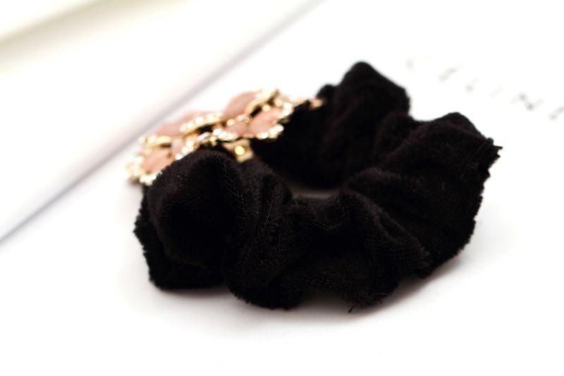 韩国盘发头饰 复古花朵发绳 水钻头花发圈 绒布圈图片