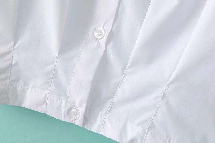 ze8 欧美风 明星同款收腰钉珠蝙蝠袖衬衫批发 x9972