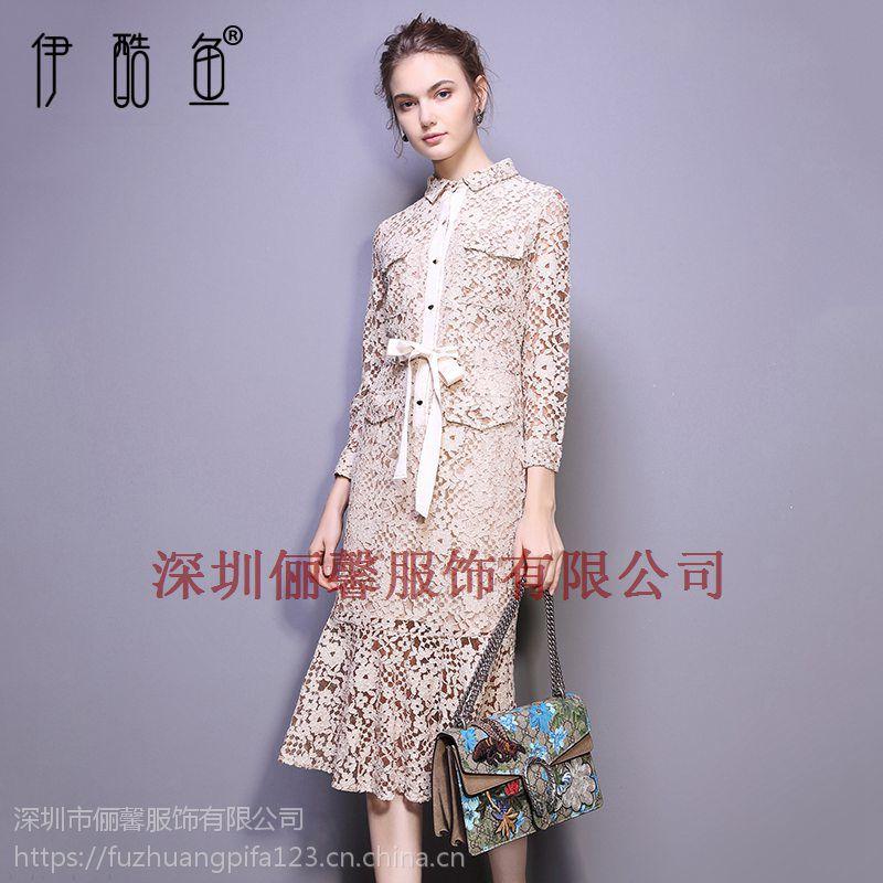 深圳休闲女式针织连衣裙拼接款 时尚潮流