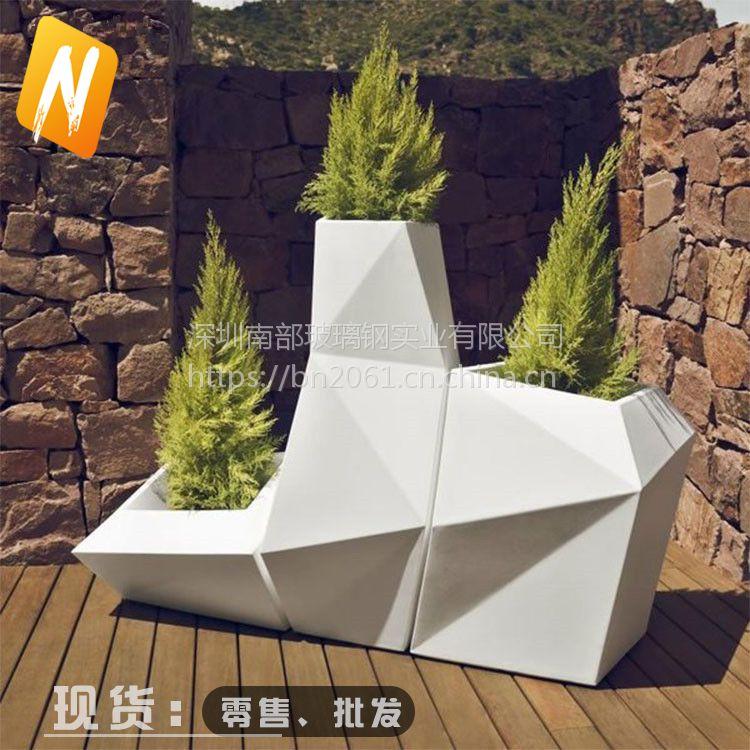 南部玻璃钢nbhp001菱形几何组合花盆