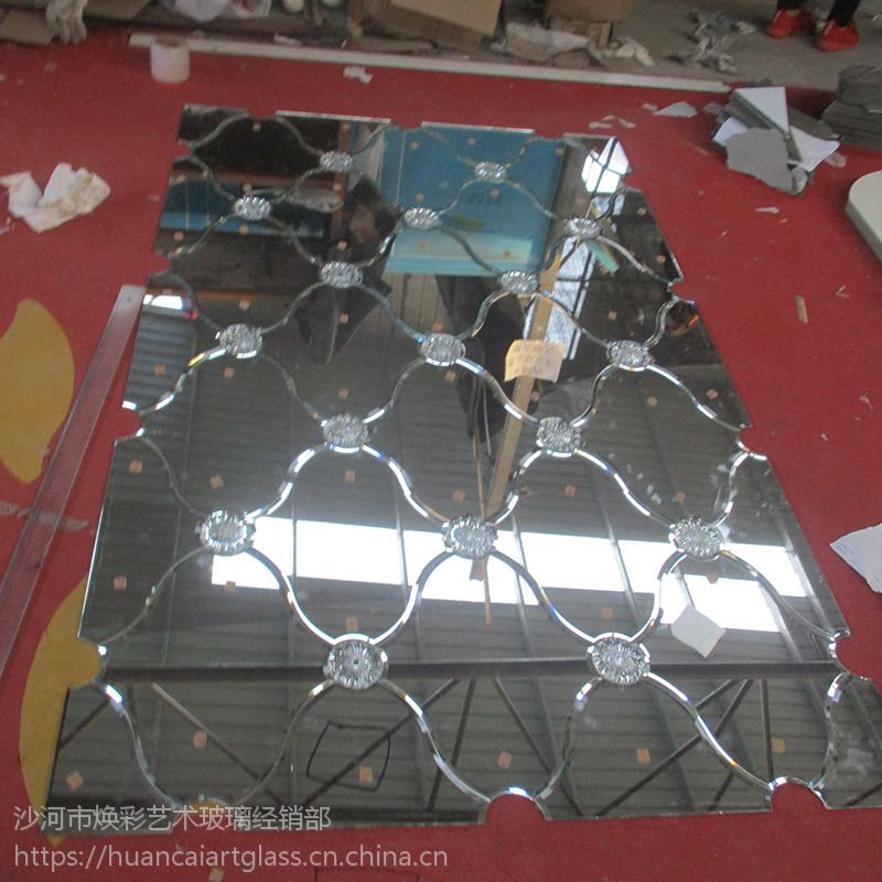 定做拼镜车边菱形镜银镜茶镜灰镜黑镜电视背景墙沙发餐厅艺术玻璃