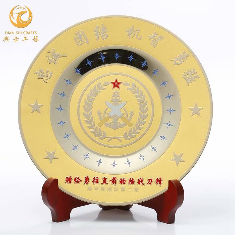 纯铜浮雕圆盘,铜盘纪念品定制,部队成立周年纪念品,军人老兵退伍留念