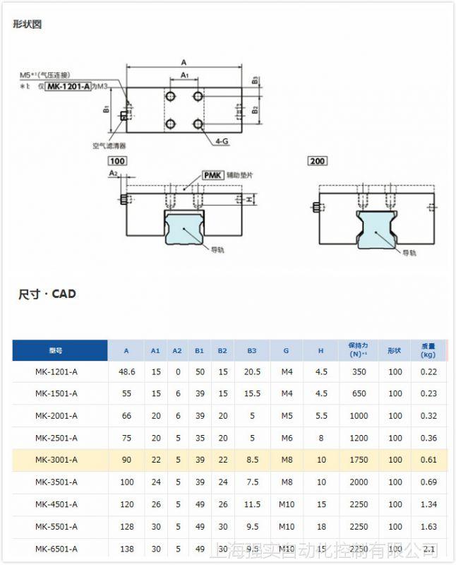 nbk气动夹紧装置 进口常开型导轨锁MK-3001-A
