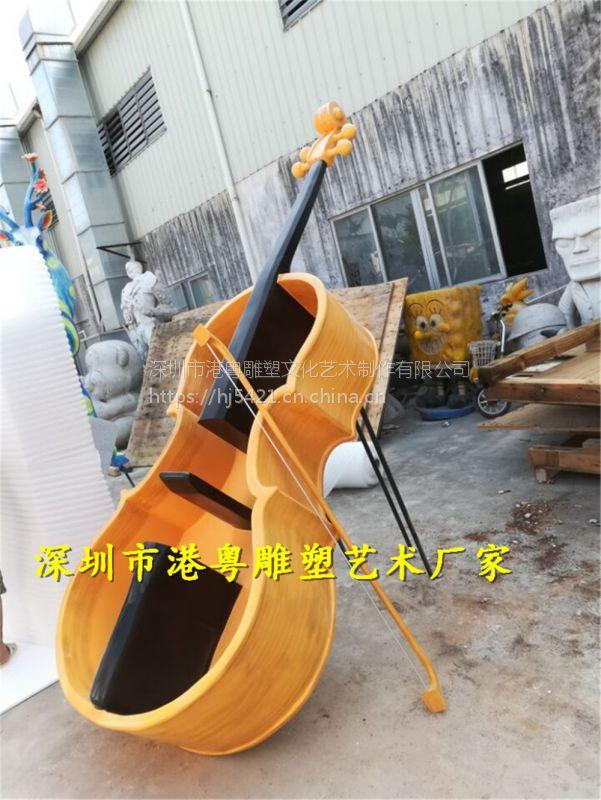 厂家定制高档大提琴玻璃钢雕塑 大型乐器装饰摆件