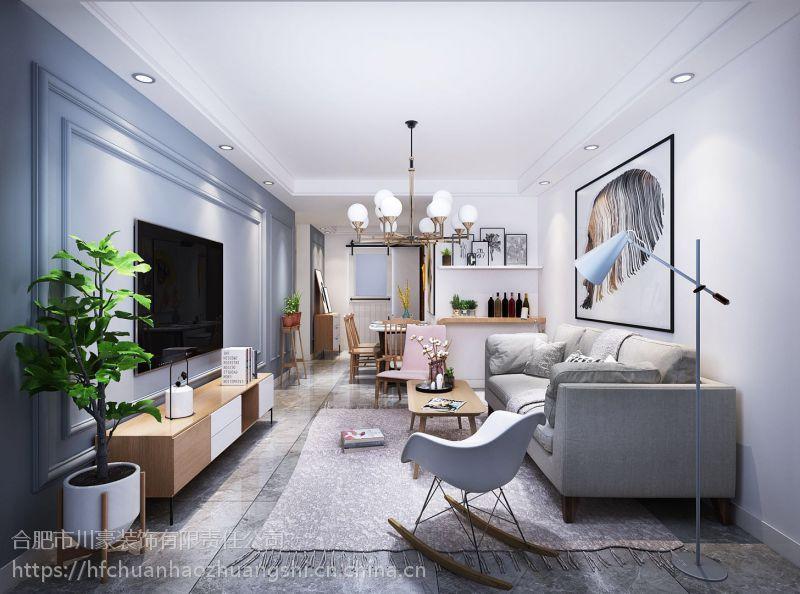 合肥东方名邸99平北欧风格装修效果图半包3.3万