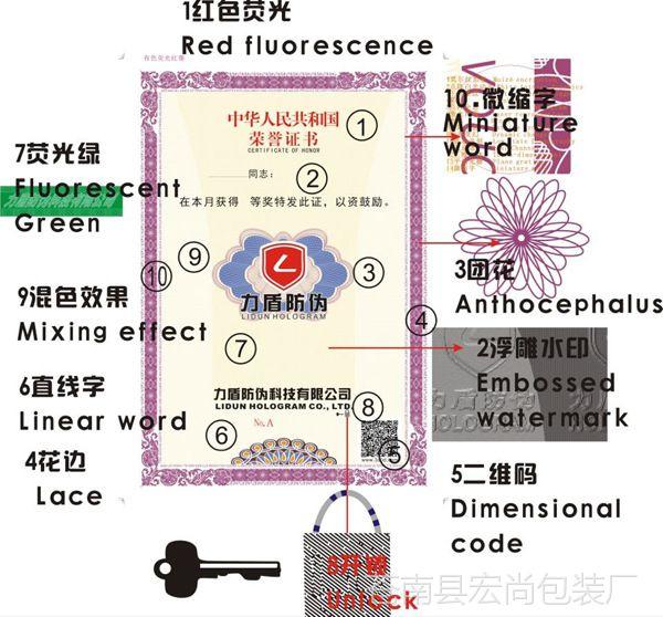 防伪标签 安全线水印标 团花制作 揭开留字 荧光彩纤防伪 厂家定