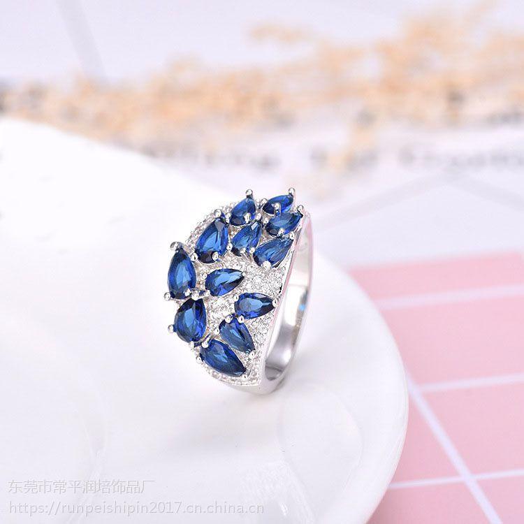 润培 铜镶嵌蓝锆石精美戒指 饰品定制工厂 送女友