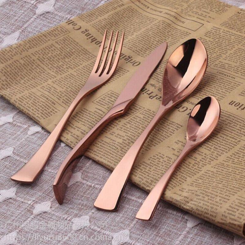 银貂 不锈钢餐具 无磁刀叉勺 黑金电镀 礼品套装 牛排套装餐具