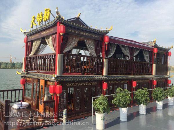 厂家直销景区大型观光旅游电动木船特色餐水上厅船观光餐饮接待船