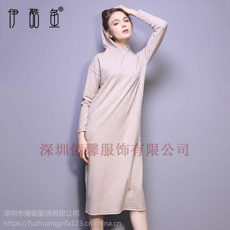 深圳女式高档黑色连衣裙 纯色长裙工厂货源