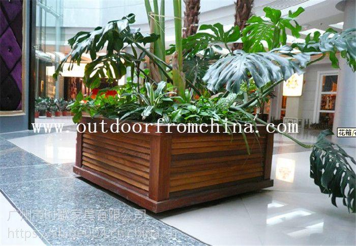 定制广场木质防腐景观隔离花箱 组合花架 庭院木质花盆 花槽