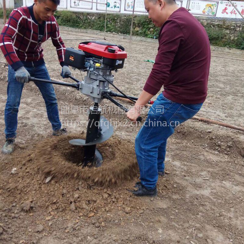 便携式汽油挖坑机 启航农用单双人手提式挖洞机 菜园果园挖坑机