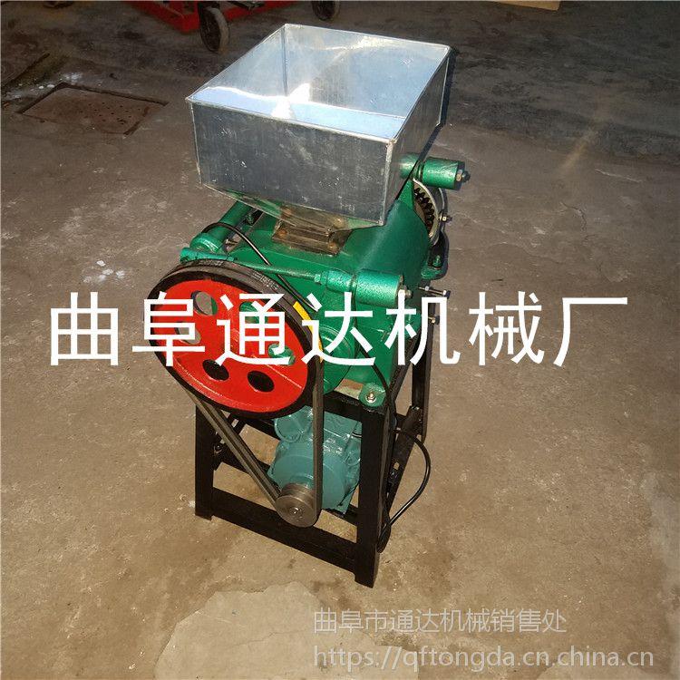 家用水稻脱皮机 玉米高粱多功能挤扁机 休闲小型碾米机视频 通达