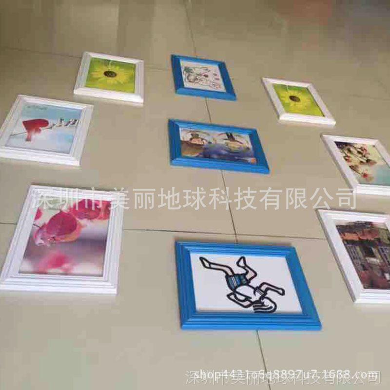 三蓝六白儿童照片墙欧式装饰相片墙7寸地中海相框挂墙创意组合